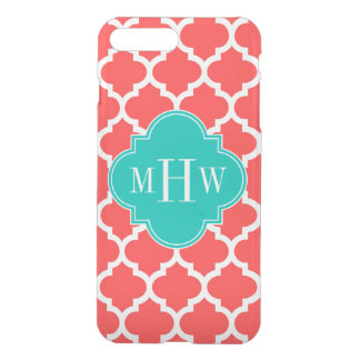 Coral Red Wht Moroccan #5 Teal 3 Initial Monogram iPhone 7 Plus Case