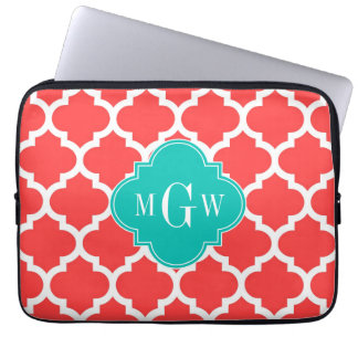 Coral Red Wht Moroccan #5 Teal 3 Initial Monogram Laptop Computer Sleeves