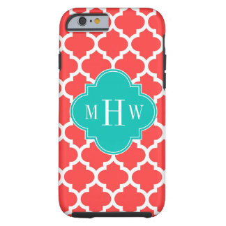 Coral Red Wht Moroccan #5 Teal 3 Initial Monogram Tough iPhone 6 Case