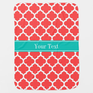 Coral Red Wht Moroccan #5 Teal Name Monogram Baby Blanket