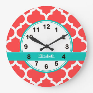 Coral Red Wht Moroccan #5 Teal Name Monogram Clocks