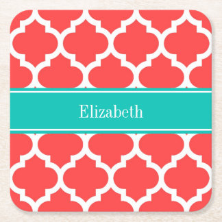 Coral Red Wht Moroccan #5 Teal Name Monogram Square Paper Coaster