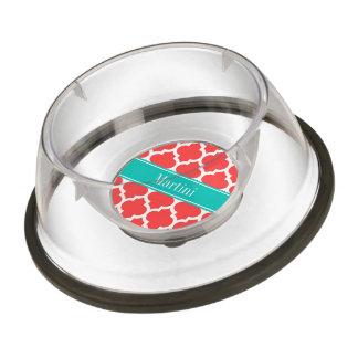 Coral Red Wht Moroccan #5 Teal Name Monogram Pet Bowl