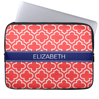 Coral Red Wht Moroccan #6 Navy Name Monogram Laptop Sleeve