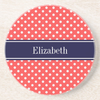 Coral Red, Wht Polka Dots Navy Blue Name Monogram Drink Coasters