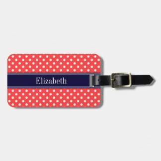 Coral Red, Wht Polka Dots Navy Blue Name Monogram Luggage Tag