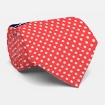 Coral Red, Wht Polka Dots Navy Blue Name Monogram Tie