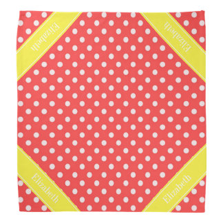 Coral Red, Wht Polka Dots Yellow Name Monogram Bandana