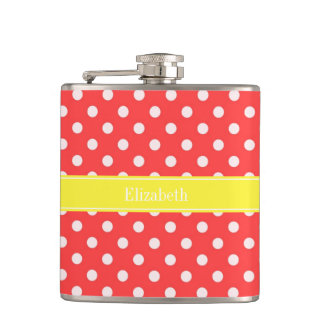 Coral Red, Wht Polka Dots Yellow Name Monogram Flask