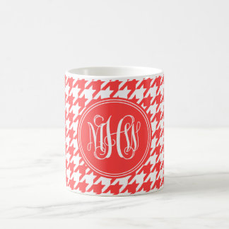 Coral Red Wt Houndstooth Coral Red Vine Monogram Coffee Mugs