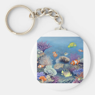 Coral Reef Basic Round Button Key Ring