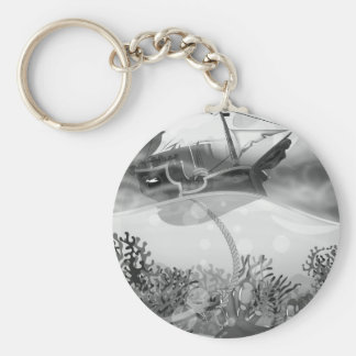 Coral Reef black and white Basic Round Button Key Ring
