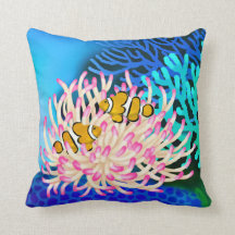 Coral Reef Clown Fish in Anemone Pillow