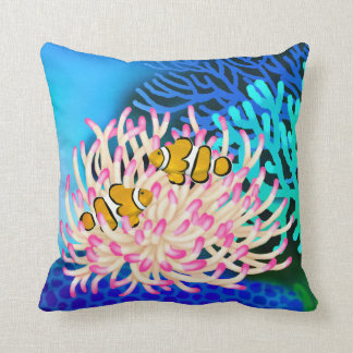 Coral Reef Clown Fish in Anemone Pillow Throw Cushions