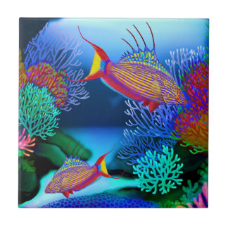 Coral Reef Flasher Wrasse Fish Tile