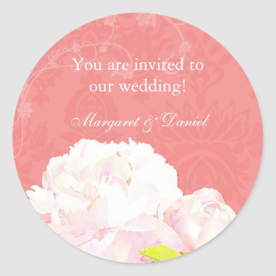 Coral Reef Peony Wedding Invitation Favour Classic Round Sticker