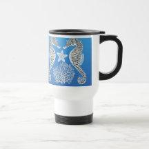 Coral Reef Sea Horse Starfish Travel Mug