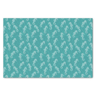 Coral Reef Seahorse - Teal Turquoise Tissue Paper