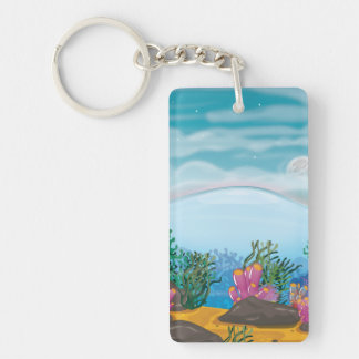 Coral Reef Single-Sided Rectangular Acrylic Key Ring