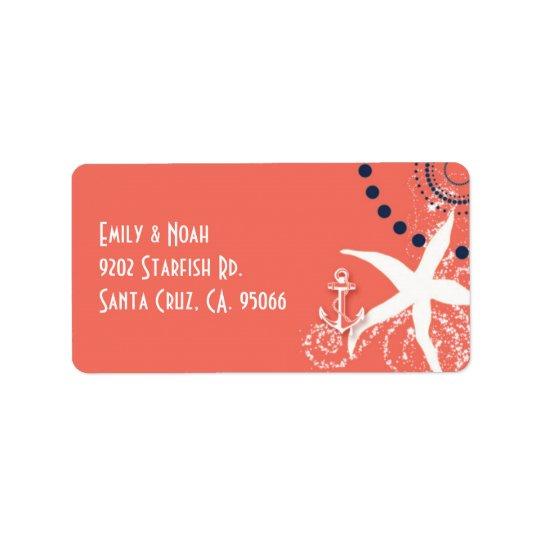 Coral Reef Starfish Nautical Wedding Label