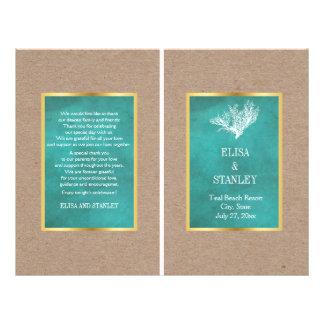 Coral reef teal sand beach wedding folded program 21.5 cm x 28 cm flyer