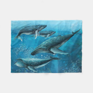 Coral Reef Whales Small Fleece Blanket