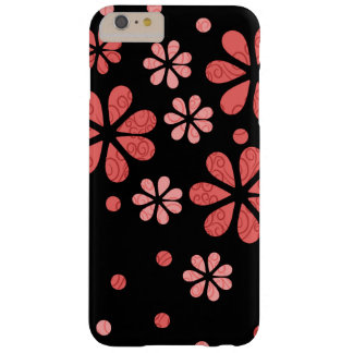 Coral  Retro Flowers On Black Barely There iPhone 6 Plus Case
