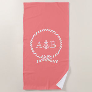 Coral Rope and Anchor Monogrammed Beach Towel