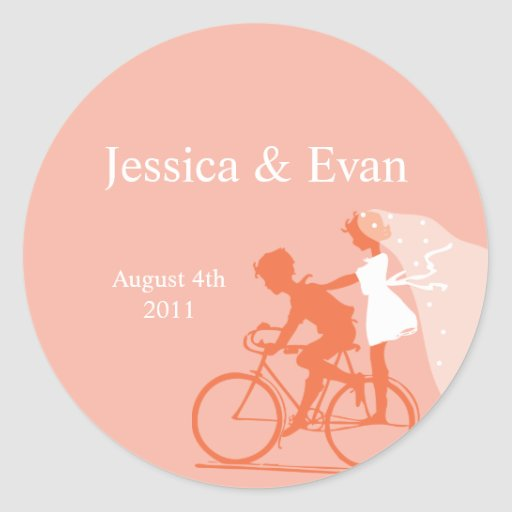 Coral Rose Bicycle Couple Wedding Sticker