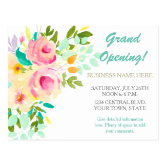 Coral Rose Floral Event Business Promotional Postcard