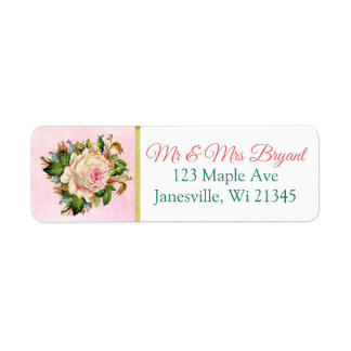 Coral Rose Floral Return Address Label