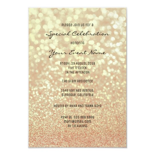 Coral Rose Gold Glitter Champaign Foxier Sparkly Card