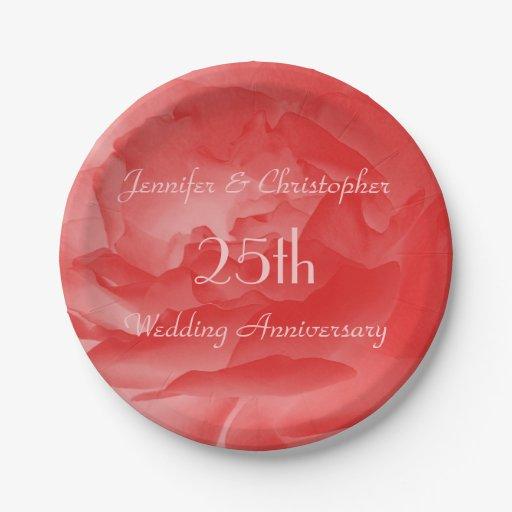 Coral Rose Paper Plates 25th Wedding Anniversary Zazzle