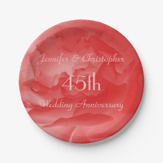 Coral Rose Paper Plates, 45th Wedding Anniversary 7 Inch Paper Plate