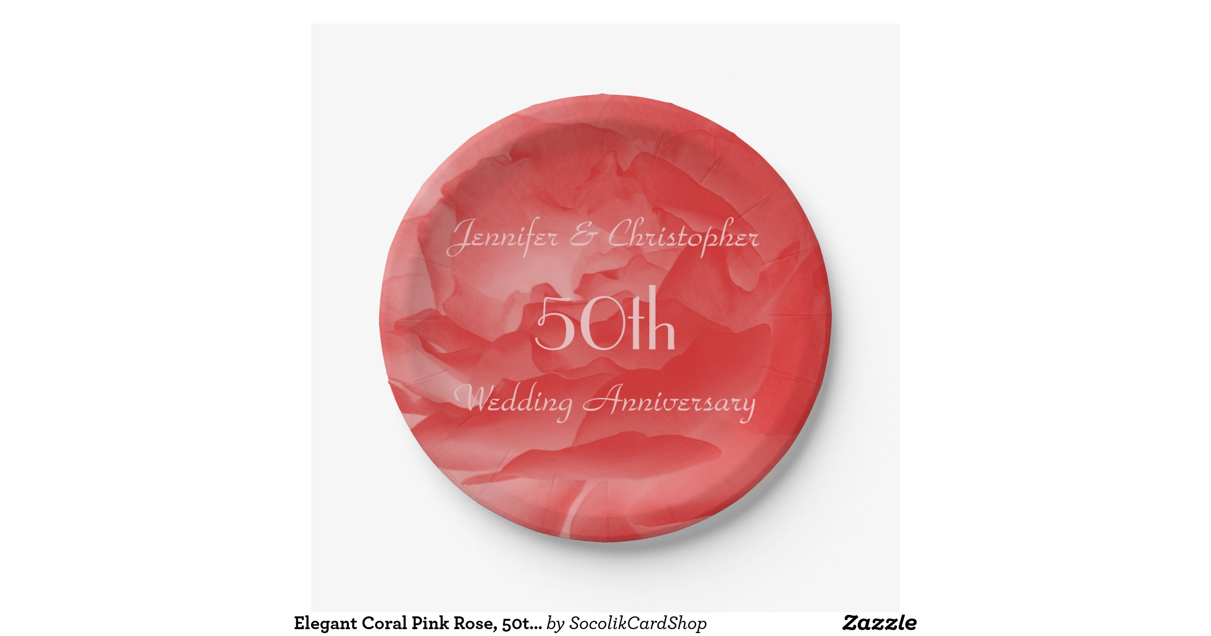 Coral Rose Paper Plates 50th Wedding Anniversary 7 Inch Paper Plate Zazzle