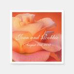 Coral Rose Personalized Wedding Napkins Paper Napkin
