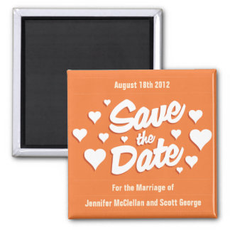 Coral Rose Save the Date Hearts Save the Date Magn Magnet
