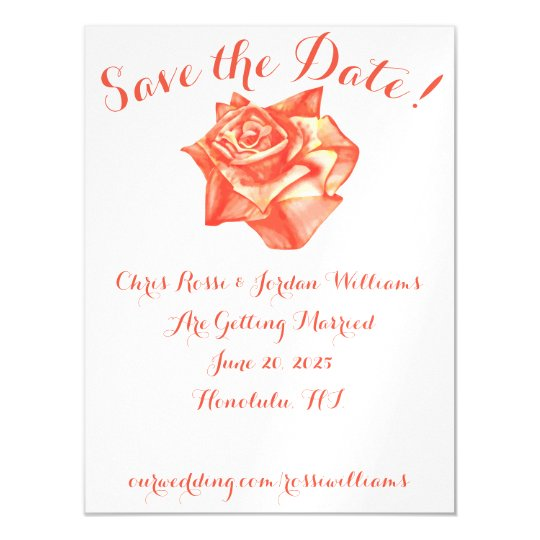 Coral Rose Save the Date Magnet Wedding Elegant