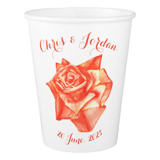 Coral Rose Simple Elegant Summer Wedding Paper Cup