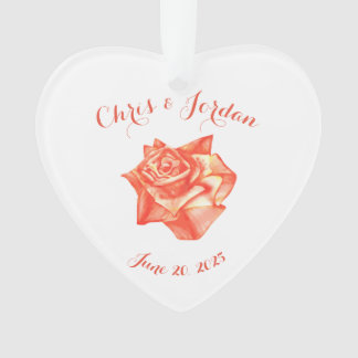 Coral Rose Simple Elegant Wedding Gift for Couple Ornament