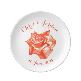 Coral Rose Simple Elegant Wedding Gift for Couple Plate