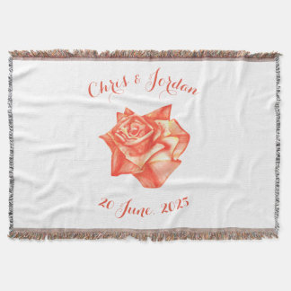 Coral Rose Simple Elegant Wedding Gift for Couple Throw Blanket