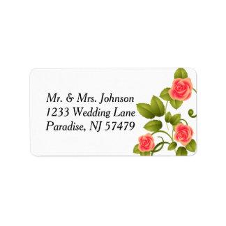 Coral Rose Wedding Label