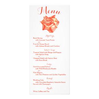 Coral Rose Wedding Menu Reception Schedule Card