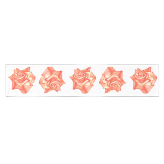 Coral Rose Wedding Reception Decoration Elegant Short Table Runner