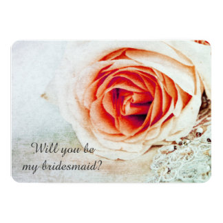 Coral rose - Will you be my bridesmaid Card