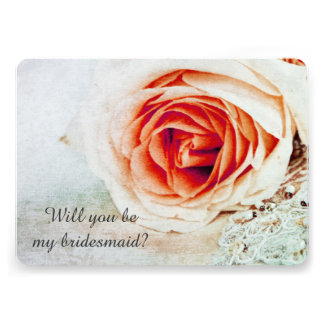 Coral rose - Will you be my bridesmaid Invitation