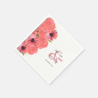 Coral Roses and Daisies Flower Wedding Design Disposable Serviette
