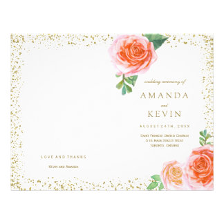 Coral Roses and Gold Glitter Wedding Programs 21.5 Cm X 28 Cm Flyer