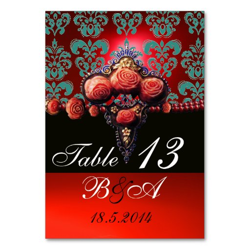 CORAL ROSES,BLACK AQUA BLUE RED DAMASK MONOGRAM TABLE CARD